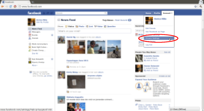 Screenshot: Accessing Facebook privacy settings Account drop down menu in top right corner of any facebook page.