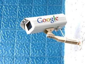 Surveillance camera with a Google logo